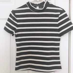 American Apparel Tops - American Apparel Striped Mock Turtleneck Shirt M